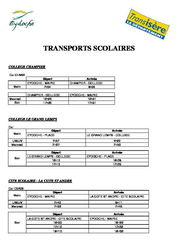 TRANSPORTS SCOLAIRES - RENTREE 2020